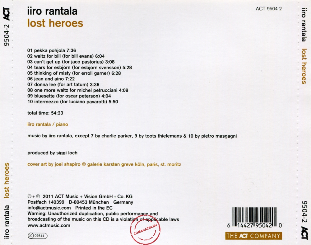 Audio CD: Iiro Rantala (2011) Lost Heroes
