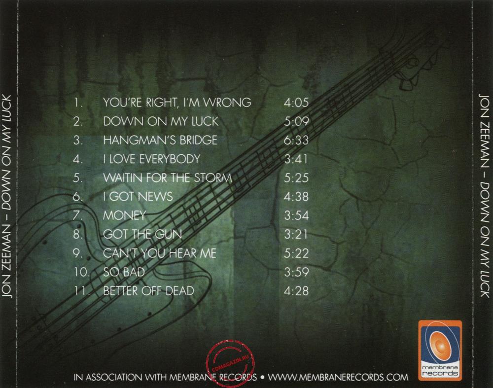 Audio CD: Jon Zeeman (2013) Down On My Luck