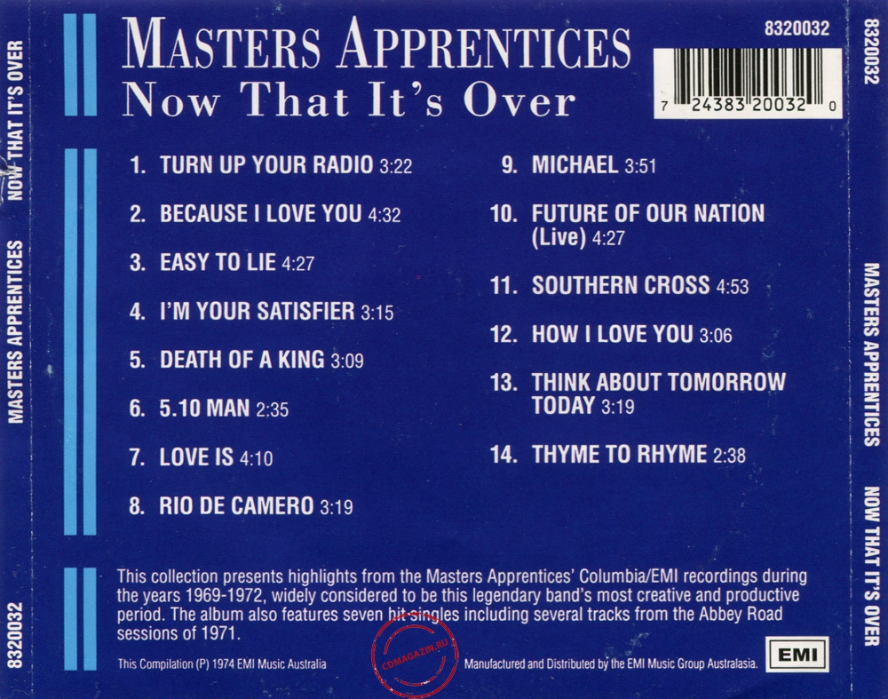 Audio CD: Master's Apprentices (1974) Now That It's Over