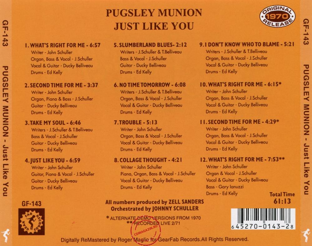 Audio CD: Pugsley Munion (1970) Just Like You