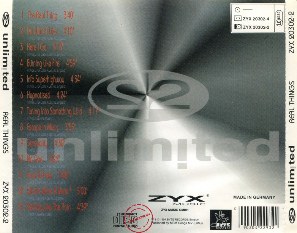 Audio CD: 2 Unlimited (1994) Real Things