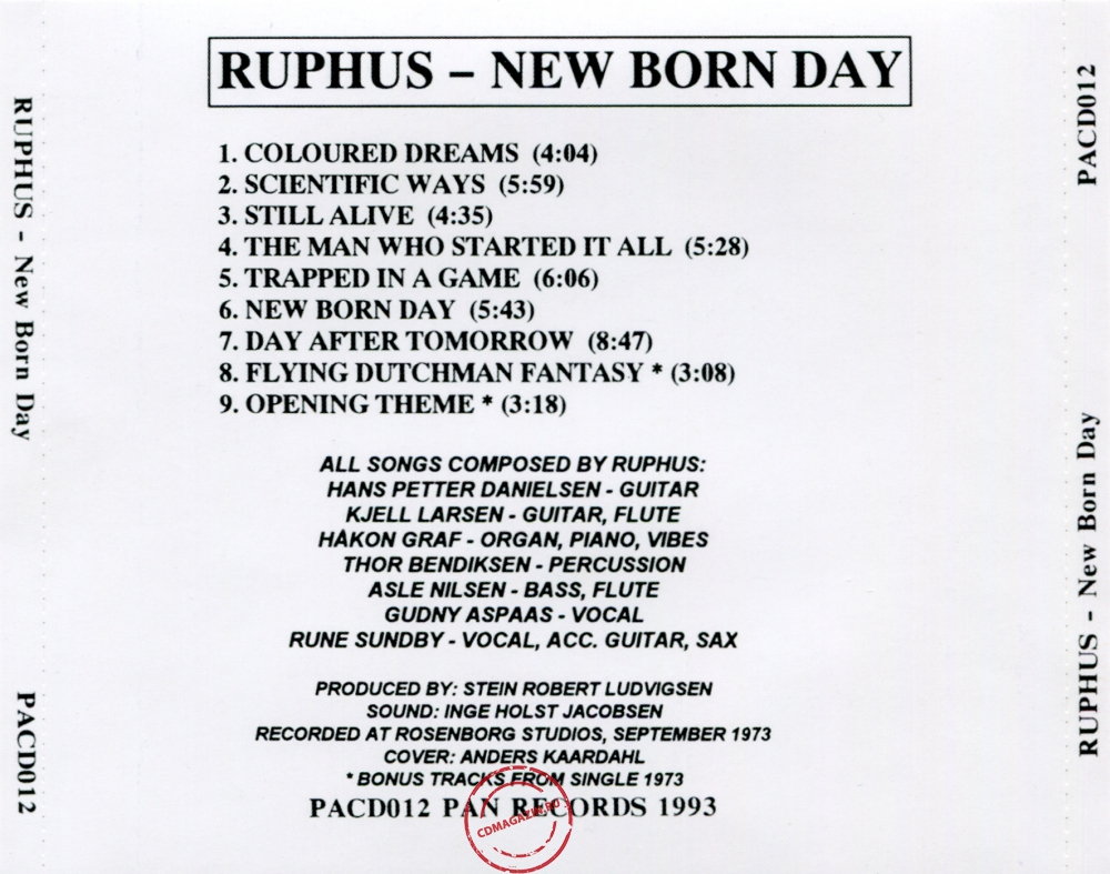 Audio CD: Ruphus (1973) New Born Day