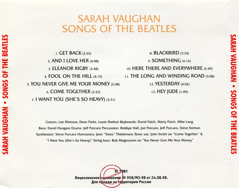 Audio CD: Sarah Vaughan (1981) Songs Of The Beatles