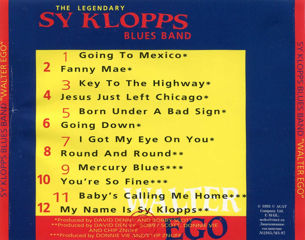 Audio CD: Sy Klopps Blues Band (1993) Walter Ego