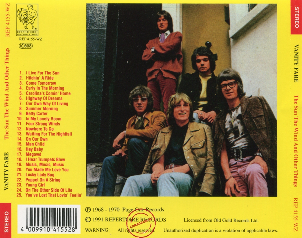 Audio CD: Vanity Fare (1968) The Sun - The Wind - And Other Things