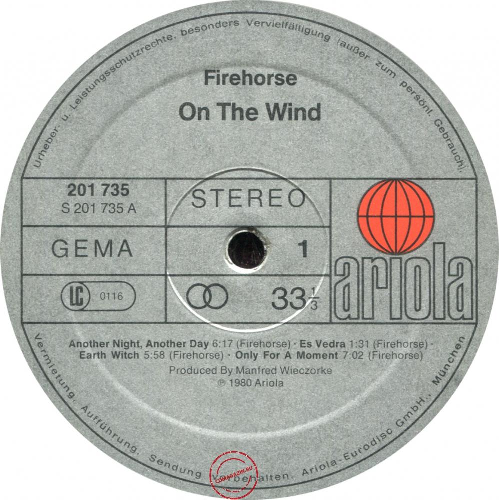 Оцифровка винила: Firehorse (2) (1980) On The Wind