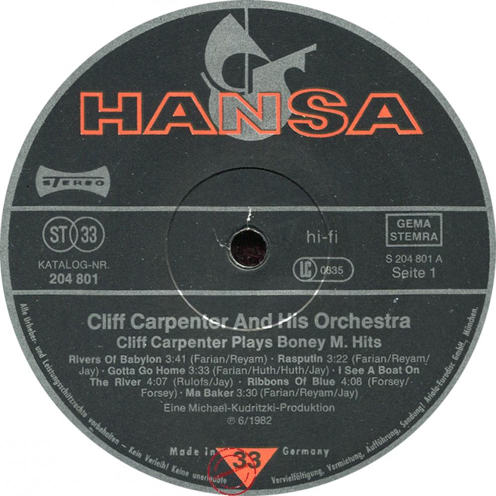 Оцифровка винила: Cliff Carpenter (1982) Plays Boney M Hits