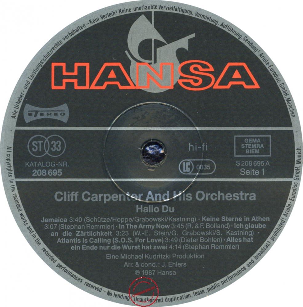 Оцифровка винила: Cliff Carpenter (1987) Hallo Du
