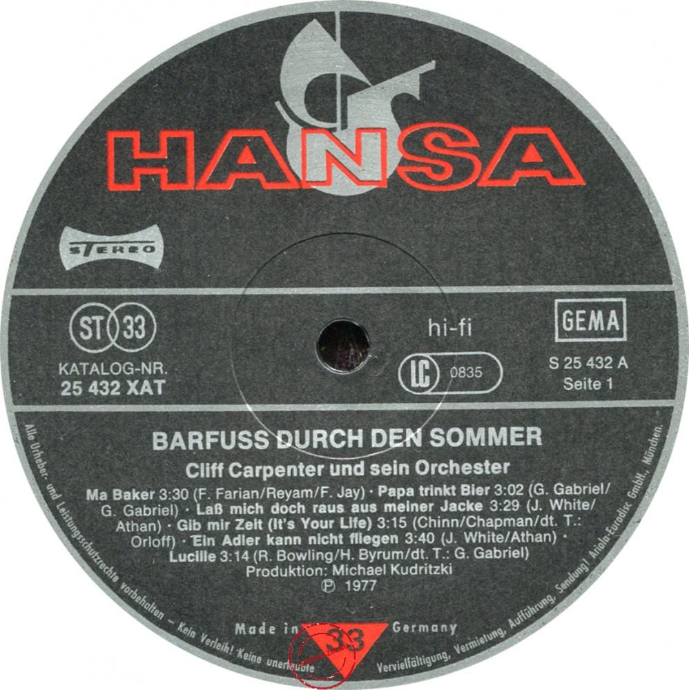 Оцифровка винила: Cliff Carpenter (1977) Barfuß Durch Den Sommer