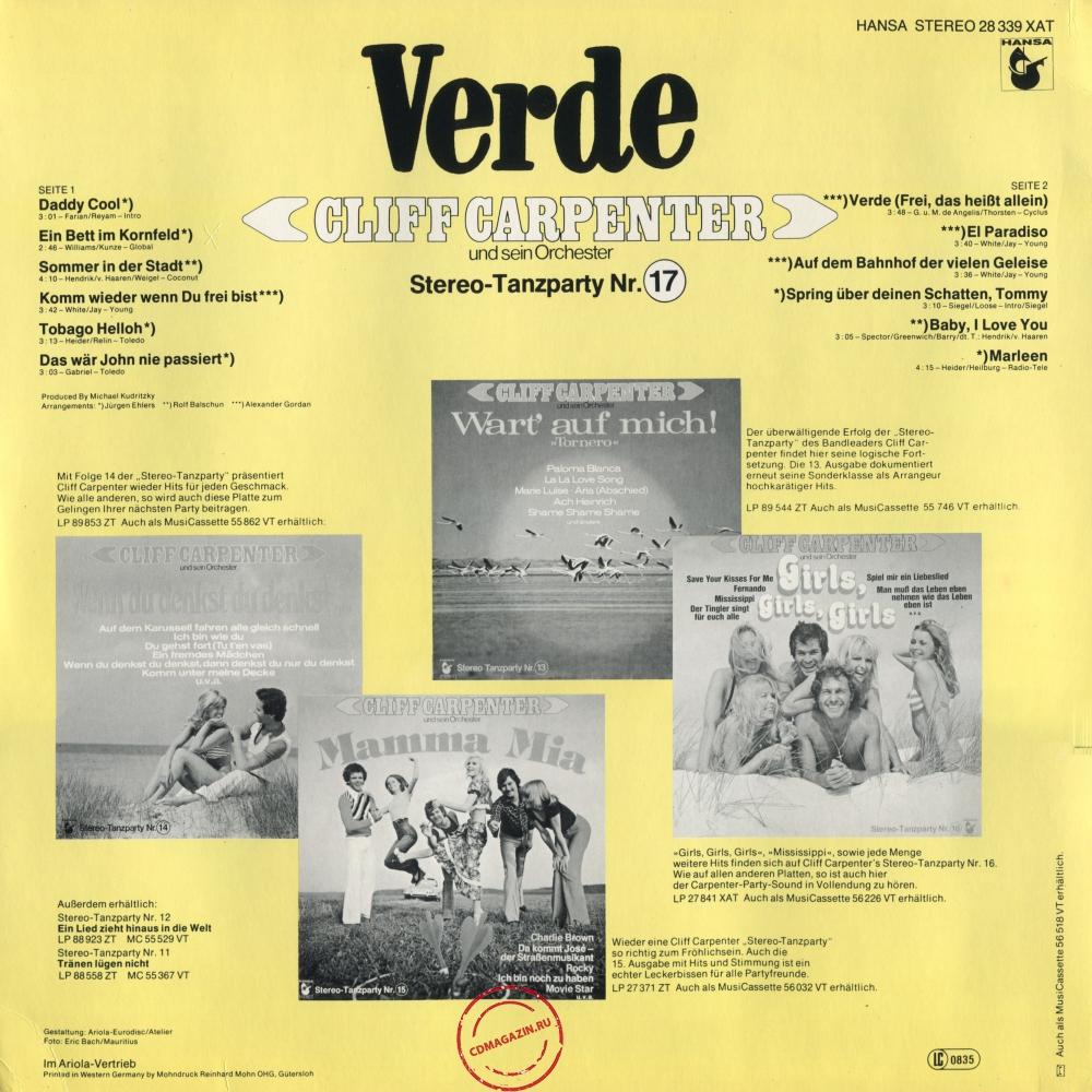 Оцифровка винила: Cliff Carpenter (1976) Verde