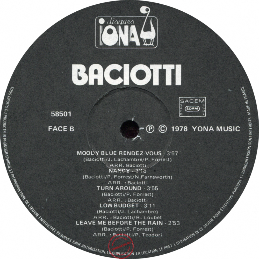 Оцифровка винила: Baciotti (1978) Moody Blue Rendez-Vous
