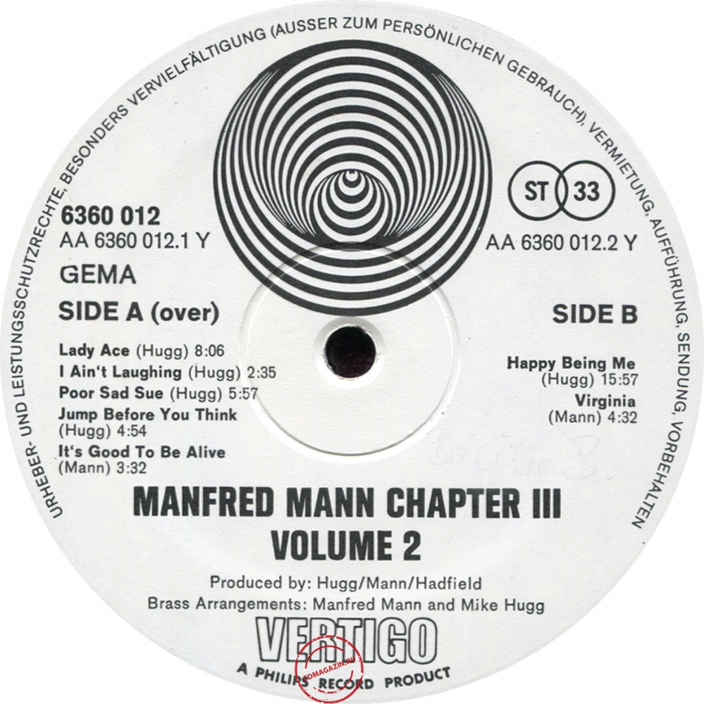 Оцифровка винила: Manfred Mann Chapter Three (1970) Volume Two