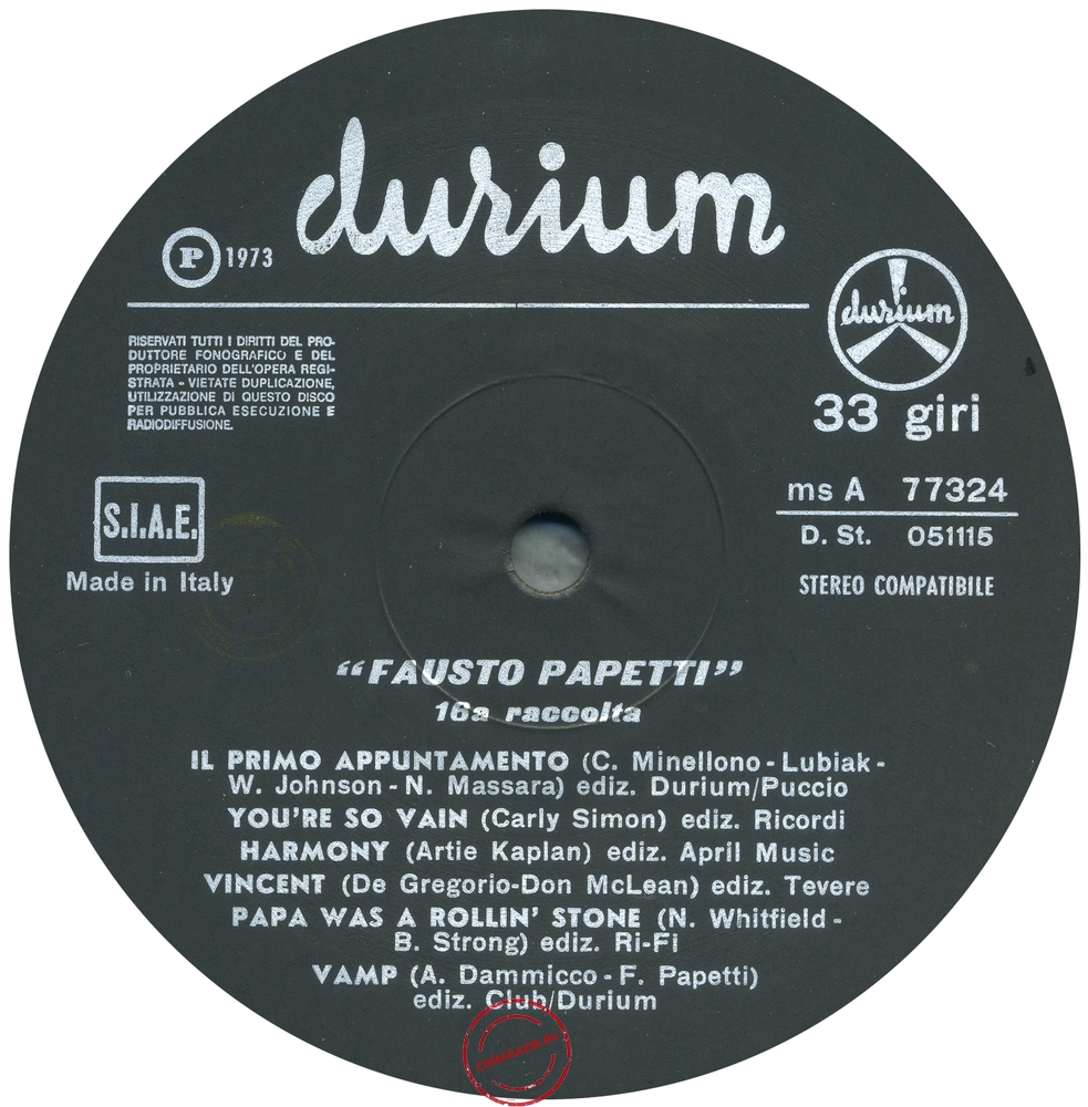 Оцифровка винила: Fausto Papetti (1973) 16a Raccolta