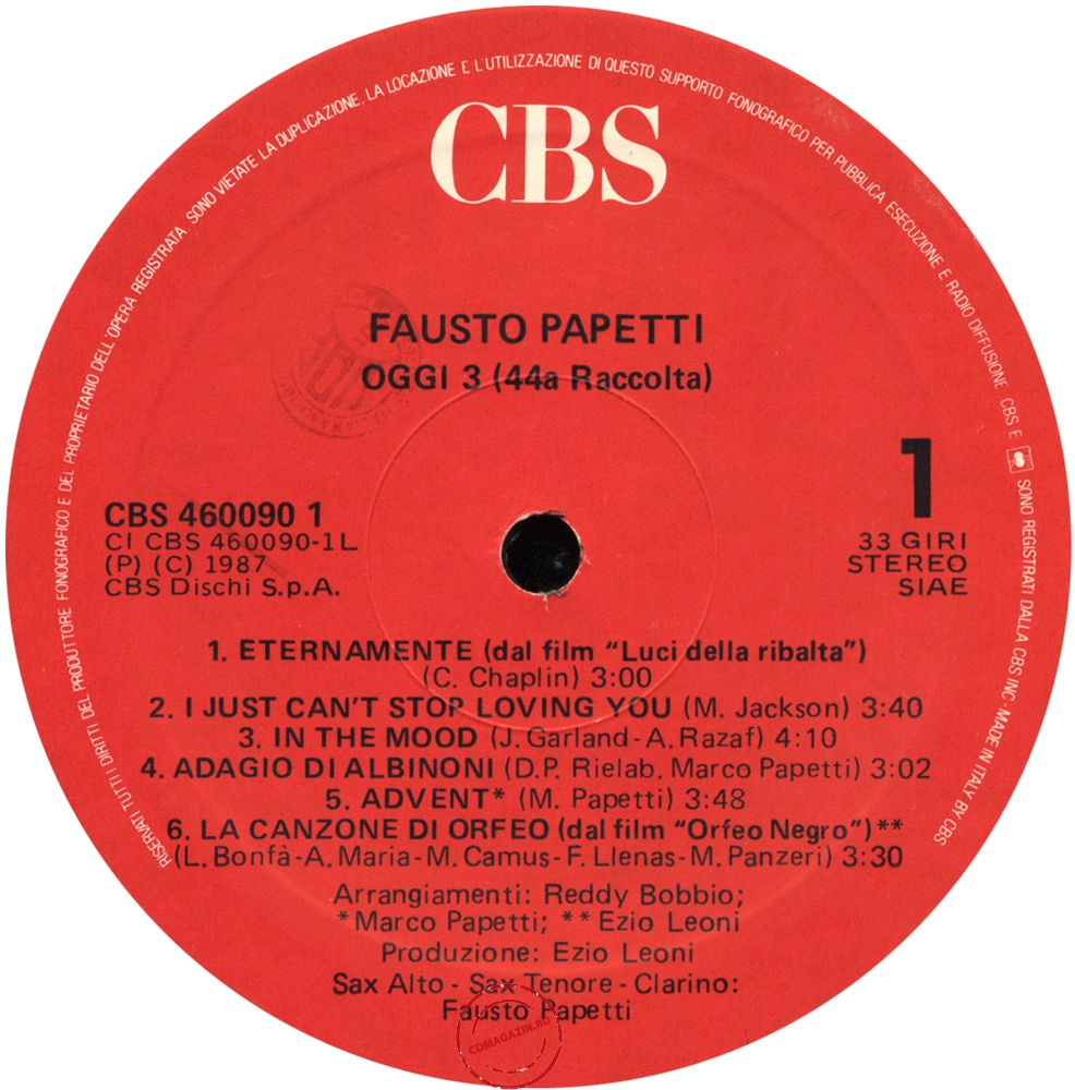 Оцифровка винила: Fausto Papetti (1987) Oggi 3 (44a Raccolta)