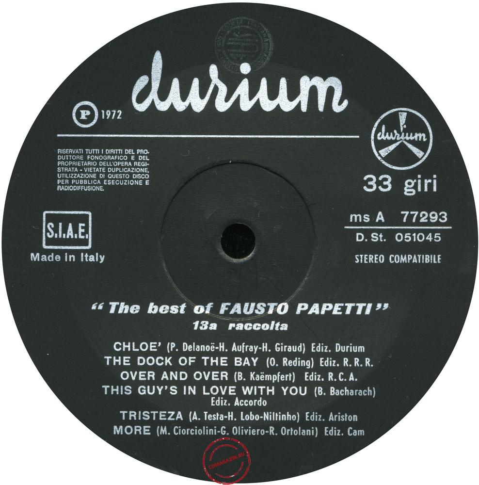 Оцифровка винила: Fausto Papetti (1972) 13a Raccolta