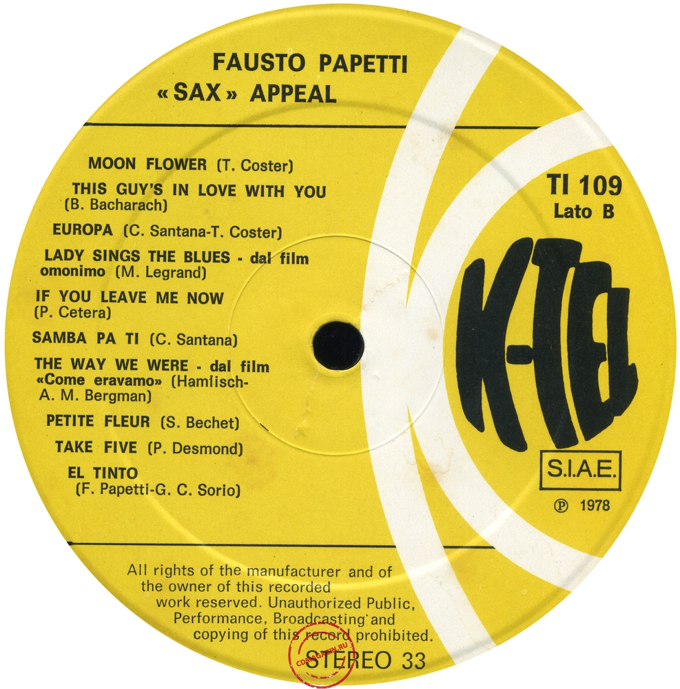 "Оцифровка винила: Fausto Papetti (1978) ""Sax"" Appeal"