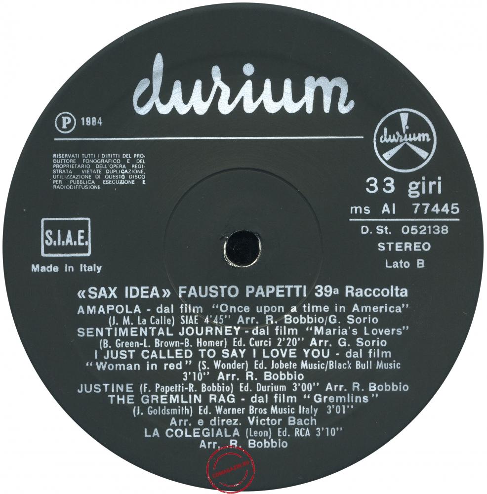 Оцифровка винила: Fausto Papetti (1984) Sax Idea (39a Raccolta)