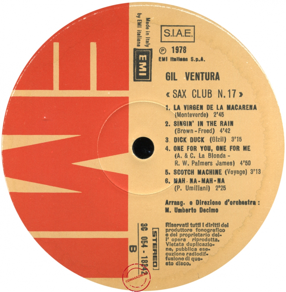 Оцифровка винила: Gil Ventura (1978) Sax Club Number 17