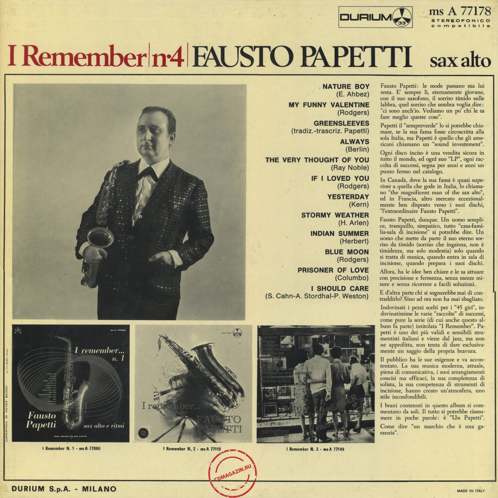 Оцифровка винила: Fausto Papetti (1967) I Remember № 4