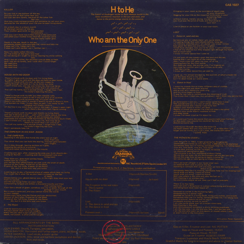 Оцифровка винила: Van Der Graaf Generator (1970) H To He Who Am The Only One