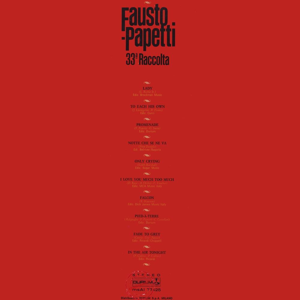 Оцифровка винила: Fausto Papetti (1981) 33a Raccolta