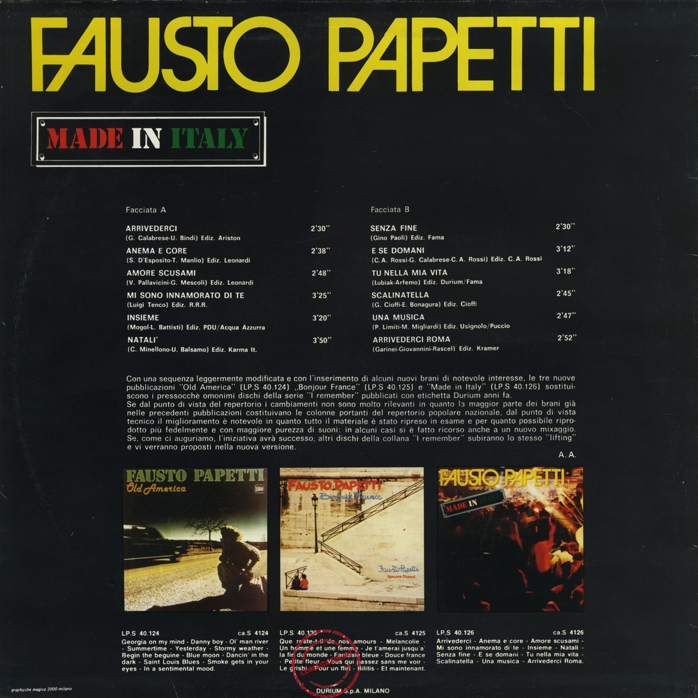 Оцифровка винила: Fausto Papetti (1981) Made In Italy