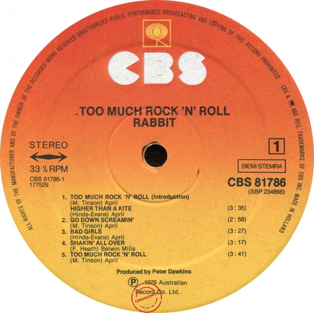 Оцифровка винила: Rabbit (1976) Too Much Rock'n'Roll