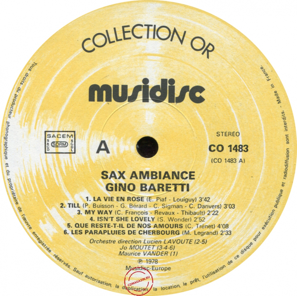 Оцифровка винила: Gino Baretti (1978) Sax Ambiance