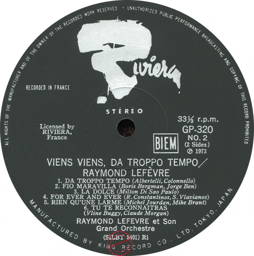Оцифровка винила: Raymond Lefevre (1973) Viens Viens, Da Troppo Tempo