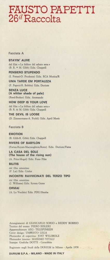 Оцифровка винила: Fausto Papetti (1978) 26a Raccolta