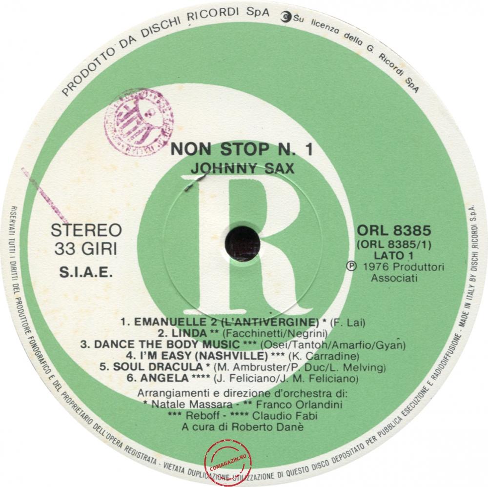Оцифровка винила: Johnny Sax (1976) Non Stop 1