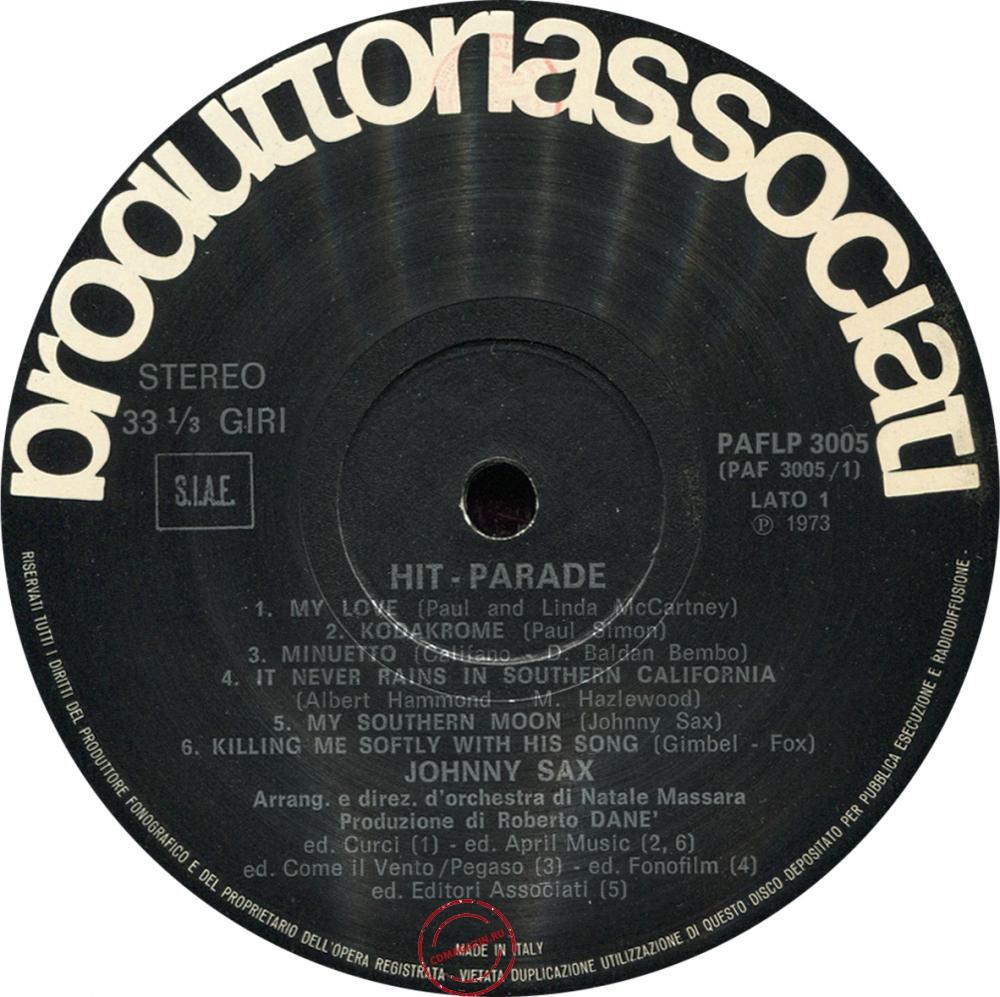 Оцифровка винила: Johnny Sax (1973) Hit Parade Volume 1°