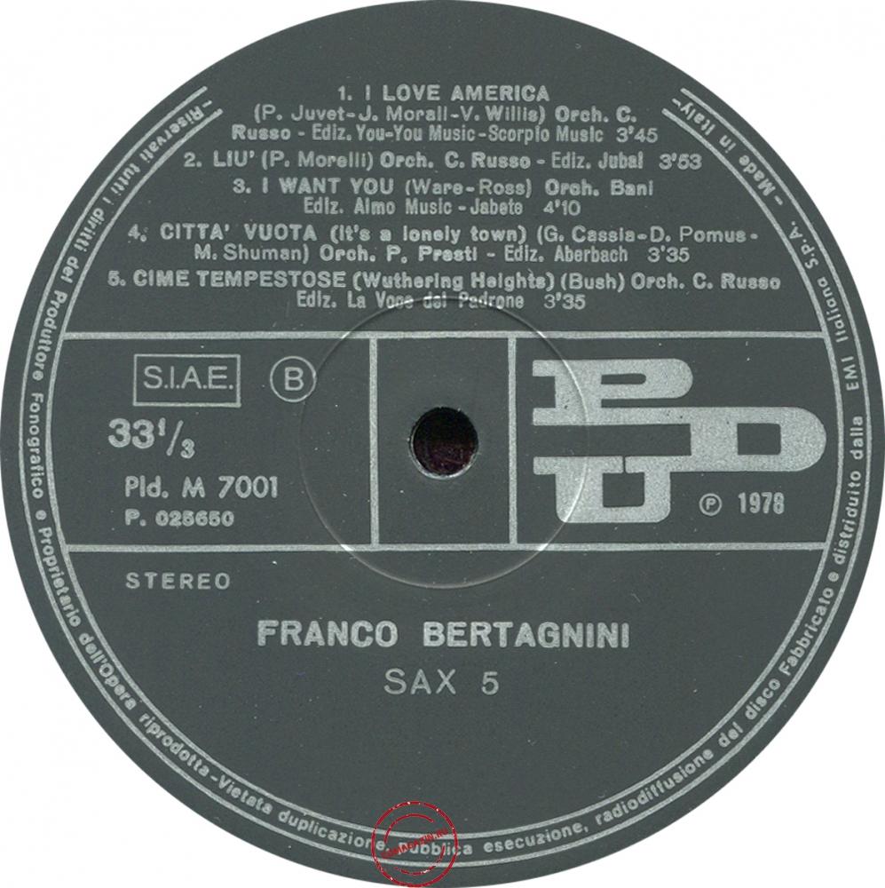 Оцифровка винила: Franco Bertagnini (1978) Sax 5