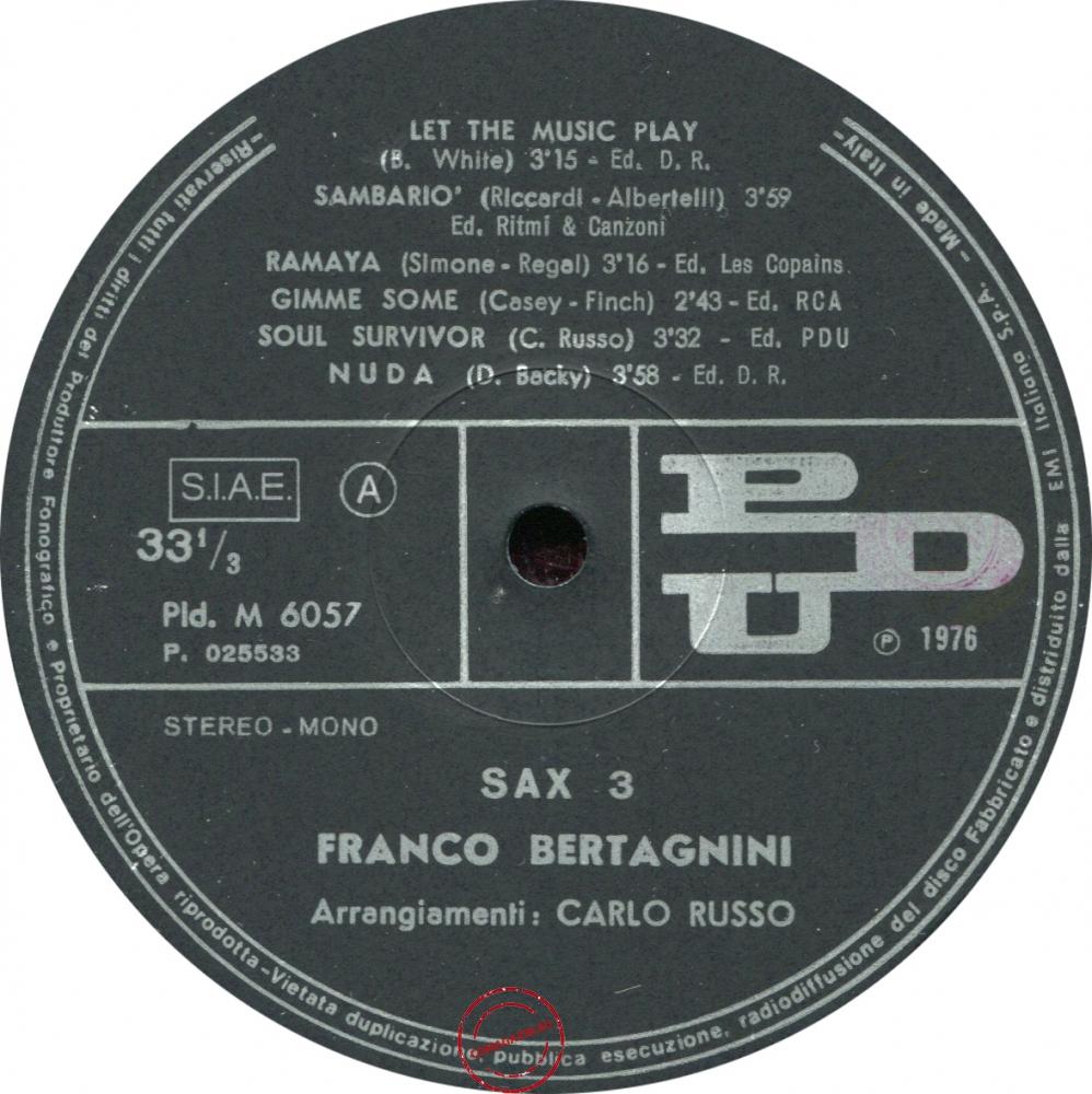 Оцифровка винила: Franco Bertagnini (1976) Sax 3