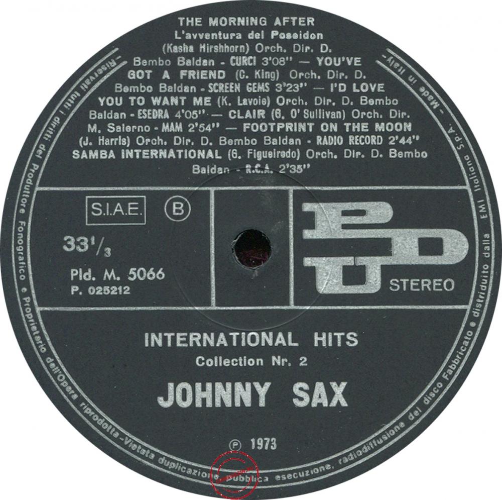 Оцифровка винила: Johnny Sax (1973) International Hits Collection Nr. 2