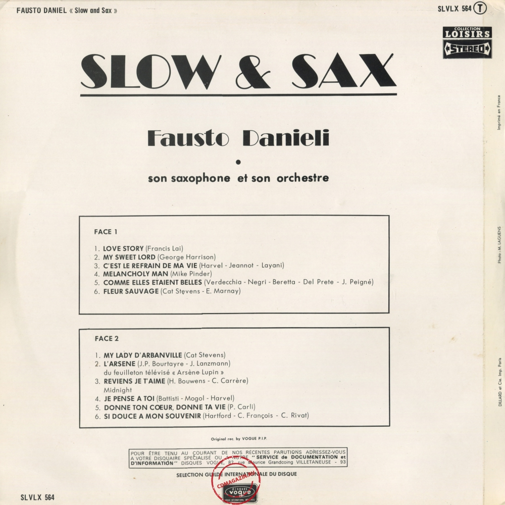 Оцифровка винила: Fausto Danieli (1973) Slow & Sax