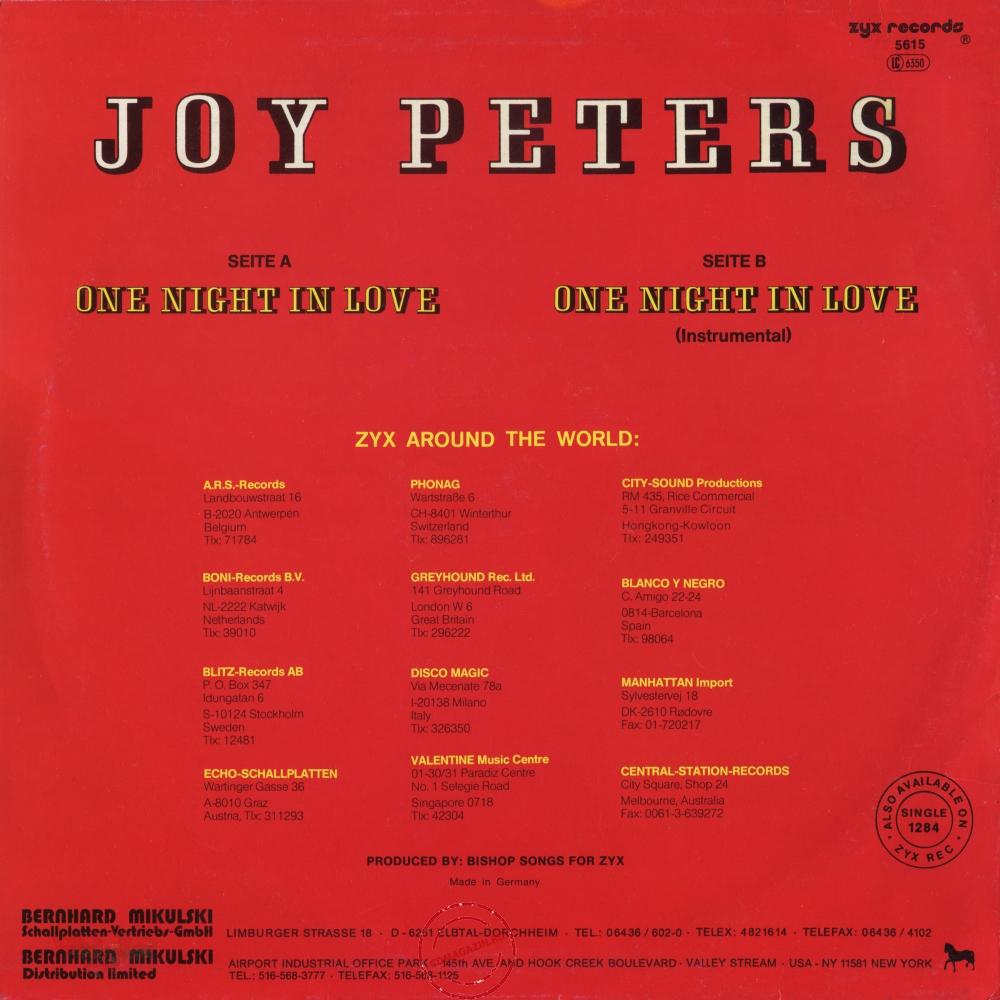 Оцифровка винила: Joy Peters (1987) One Night In Love